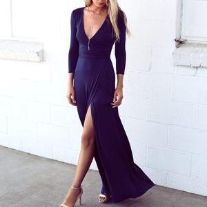 Lulus // Garden District Navy Blue Wrap Maxi Dress